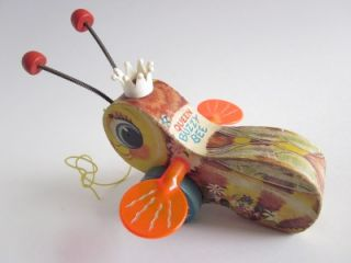 Vintage 1957 Queen Buzzy Bee Fisher Price Wood Wooden Pull Toy 444