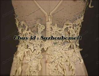 Light Champagne V Neck Chiffon Beaded Applique Long Prom Wedding Party Dresses