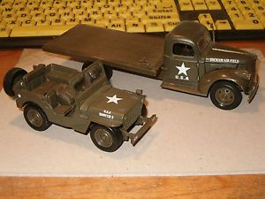 Vtg Plastic Die Cast Army Jeep Flatbed Truck Jeep Willys 1941 Chevy Hickman