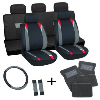 18pc Set Red Black Auto Car Seat Cover Wheel Belt Pad Head Rest Gray Floor Mat