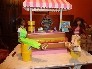 2 Barbie Dolls 1 Ken Doll with Barbie Hot Dog Stand with Food Drinks Lot
