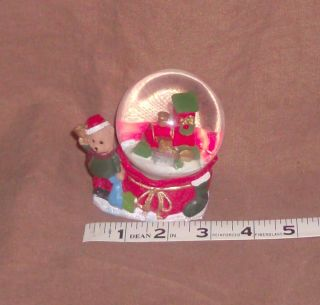 Christmas Mini Snow Globe Teddy Bear Train in Globe