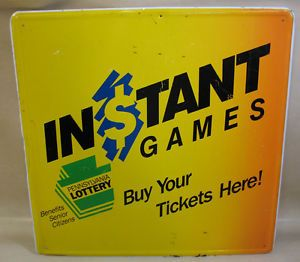 Square Metal Sign Instant Games Pennsylvania Lottery Yellow Orange Black Fair