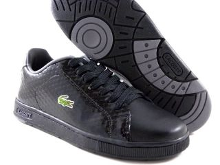 New Lacoste Carnaby SCL Black Patent Leather Gray Casual Tennis Men Shoes Size