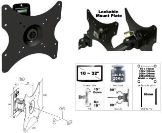 LCD LED TV Tilt Swivel Security Lock Vesa Wall Mount Samsung Sony Vizio 10 32""