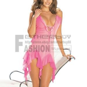 Women Ladies Sexy Hot pink Lace Gauze Lingerie Dress G String Costume Sleepwear