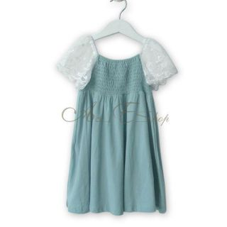 Girl Blue Lace Short Sleeve Summer Clothes Kid Party Dress Skirt Ages 2 7 Years