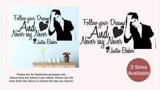 Justin Bieber Never Say Never Wall Quote Stickers Decal Graphics Love WQA27
