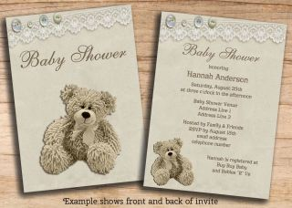 Neutral Baby Shower Teddy Bear Lace Invitations Printable Cheap DIY Invites