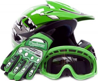 Kids Motocross Youth ATV Helmet Gloves and Goggles Motorcycle Dot