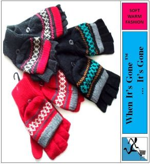 New Ladies Warm Soft Capped Mittens Fingerless Gloves