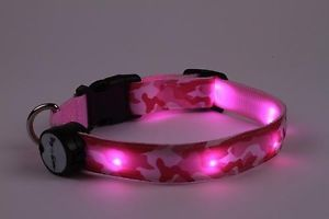 Pink Camo Lighted LED Pet Dog Collar Steady Glow or Flashing Lights
