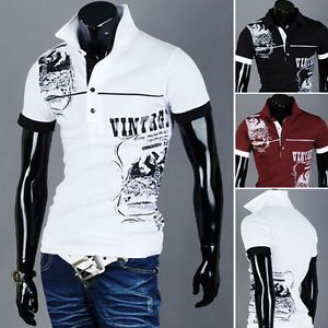 Mens Slim Fit Vintage Graphic Printed Design Polo Collar Short Sleeve T Shirts