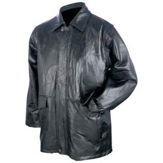 New Mens Giovanni Navarre Italian Stone Design Genuine Black Leather Jacket Coat