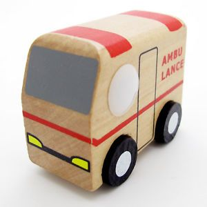 New Red White Hand Made Wooden Wood Mini Ambulance Car Baby Kids Toys