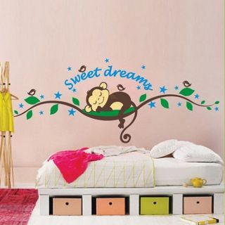 Lovely Monkey Sleep on Tree Design Wall Decal Removable Home Art Mural Stickers
