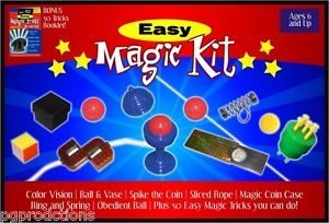 Easy Magic Kit Set 50 Tricks Book Kids Beginner Magician Gift Toy Ball Vase Rope