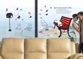 DIY Lamp Cat Chair Art Room Wall Sticker Home Decal Decor Mural Vinyl Removable