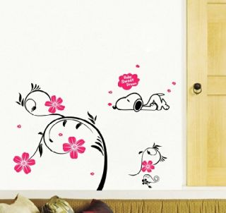 Snoopy Flower Removable Wall Stickers Decor Decals Home Kids Room Nursery A44