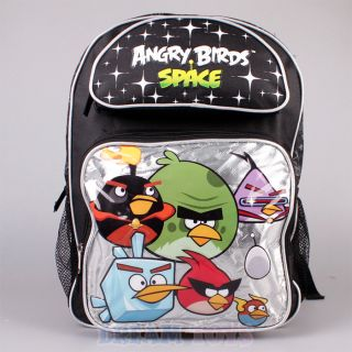 "Rovio Angry Birds Space Backpack Silver 16"" Large Book Bag Boys Girls Kids"