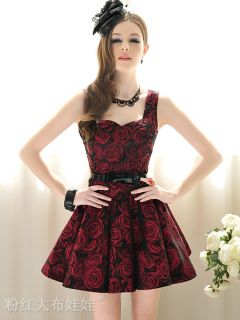 Black with Floral Rose Print Pleated Retro 50's Rockabilly Skater Dress UK10 12