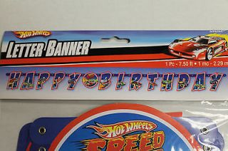 Hot Wheels Happy Birthday Letter Banner for Boy's Birthday Party Decoration New
