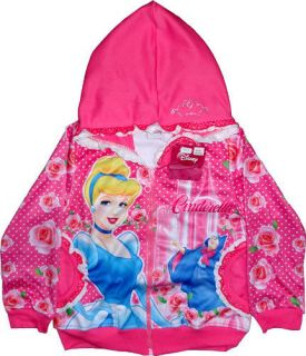 Disney Princess Cinderella Girls Pink Jacket Coat Kids Childrens Zip Hoody Toys