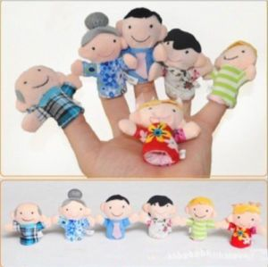 Family Finger Puppets People 6pcs Story Props Kids Baby Plush Activity Toy