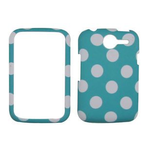 Turquoise Polka Dot Pantech Renue P6030 at T Rubberised Phone Cover Hard Case