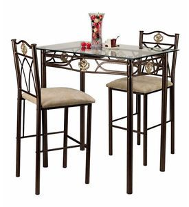Small Metal Kitchen Dining Room Glass Top Table and Padded Chairs 3 PC Gold Set