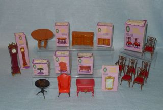 Large Lot Vintage Marx Toys Little Hostess Plastic Dollhouse Furniture Boxes
