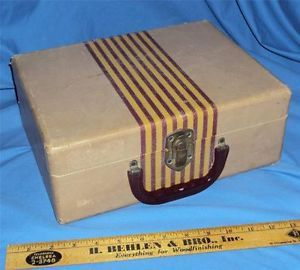 Vintage Hard Side Striped Train Makeup Case Luggage
