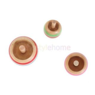 3pcs Wooden Colorful Cool Funny Spinning Top Kids Toy 3 Sizes Can Spin Two Sides