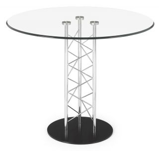 ZUO Clear Tempered Glass Chromed Steel Modern Pedestal Dining Table