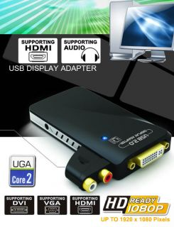 USB to DVI VGA HDMI Display Graphics Adapter Converter