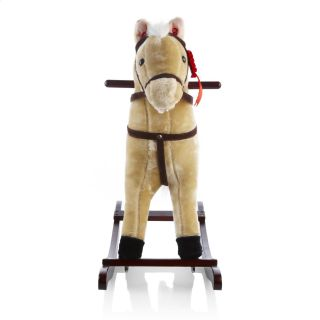 Heritage Childrens Kids 68cm Beige Cream Rocking Horse with Sounds Moving Mouth