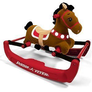 Radio Flyer Soft Rock Bounce Pony Sound Rocking Horse Fabric Baby Ride Toddler N