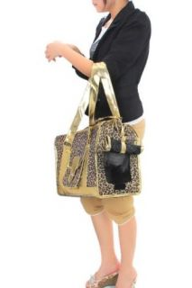 Leopard Print Pet Carrier Dog Cat Tote Bag Kennel Crate Travel