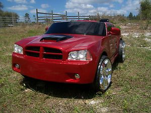 Custom 1 of A Kind Inferno Red Dodge Charger Kid Trax Power Wheel Ride on Toy