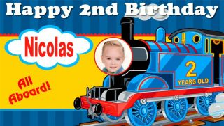 Custom Thomas The Train Personalized Birthday Party Banner