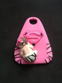 Fondant Pink Zebra Supergirl Baby Cake Topper Baby Shower Party Favor