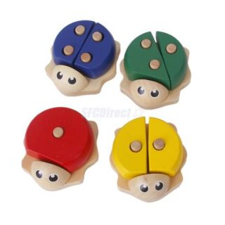 4 Baby Kids Number Color Pretend Shcool Play Lacing Toys Wood Beetles Column Set