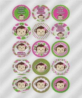 A738 Edible Image Birthday Decal Cake Cookie Cupcake Toppers Monkeys Pink Green