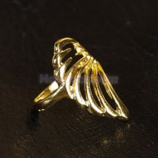 Vintage Lady Girl Angel Wing Feather Ring Gold Tone Party Wedding