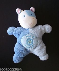 Kids Preferred Cute as A Button Blue Cow Plush Stuffed Animal Rattle Baby Toy 8""
