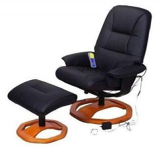 Black Synthetic Leather Vibrating Heated Recliner Massage Chair with Ottoman