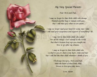 Gift for Parents Personalized Poem for Mom and Dad Mother Father Gift