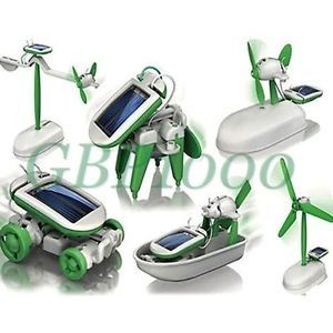 6 in 1 Solar Power Educational DIY Robot Kits Plane Boat Fan Car Kids Gift Toy