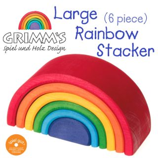 Grimm's Large Rainbow Stacker 6 Piece Wooden Waldorf Elements Puzzle Blocks Toy