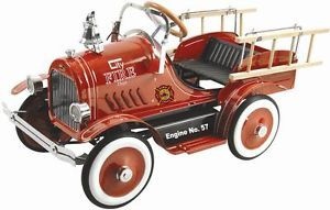 New Kids Vintage Style Classic Red Roadster Fire Truck Ride on Pedal Car Toy
